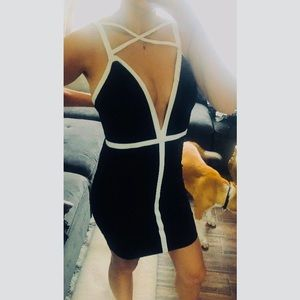 LBD sexy black and white dress
